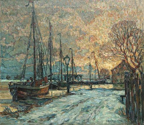 Otto Lang-Wollin (* Kassel 1881) Winterabend, Kai