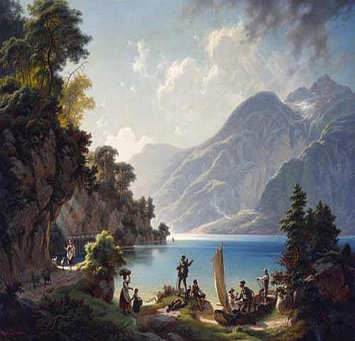 Hans Brunner (1813 Blick auf einen Gebirgssee, im