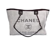 CHANEL GREY SMALL DEAUVILLE TOTE