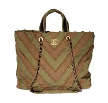 CHANEL LARGE SHOPPING 30CM KHAKI OLIVE STRIPE