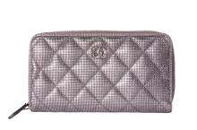 CHANEL QUILTED SMALL ZIP WALLET DARK SILVER