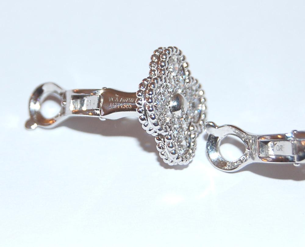 VAN CLEEF & ARPELS 18K White Gold Diamond Alhambra Earrings