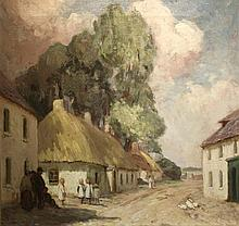 Eva Henrietta Hamilton, 1876-1960 DUNBOYNE VILLAGE Oil on canvas, 25'' x 29'' (63.5 x 74 cm) Exhibited: Royal Hibernian Academy, 1911 (no. 145, £15-15s )  Dunboyne, Co. Meath is the village next to Jamwood, the Hanilton's family home.  The sketch for this oil was sold at the Christies Stackallan House Auction in 2002, lot 226 (see image)