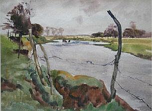 TOM NISBET RHA 1909-2001 Cattle Watering
