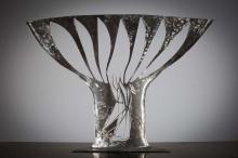 Conor Fallon RHA, 1939-2007 BIRD IN SONG Brushed steel, 27
