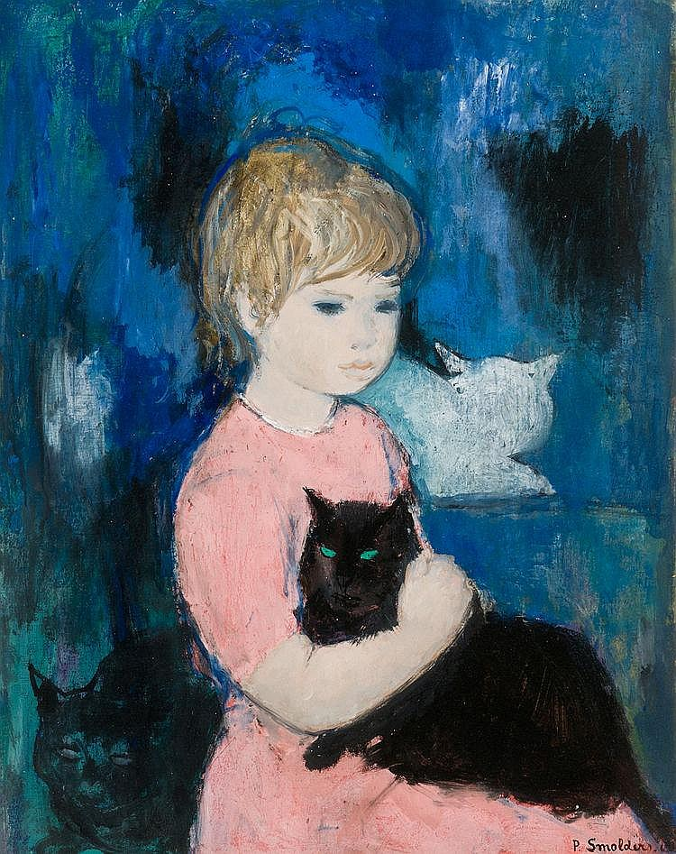 Smolders  Paul (1921-1997) Girl with cats (1960)
