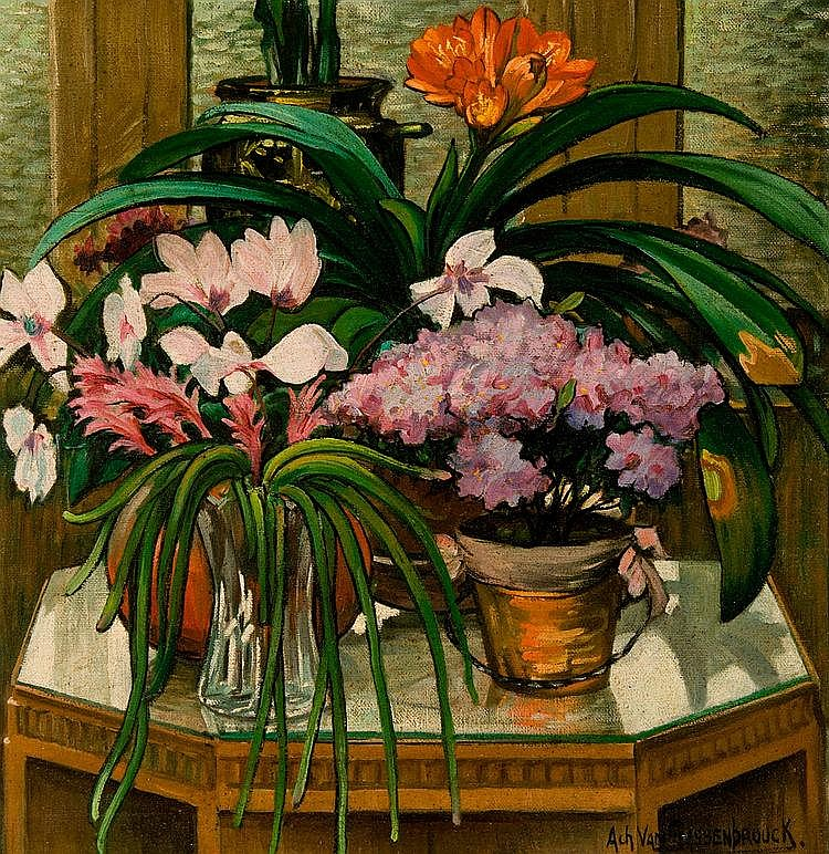 Van Sassenbrouck  Achiel (1886-1979) Still life with flowers and plants