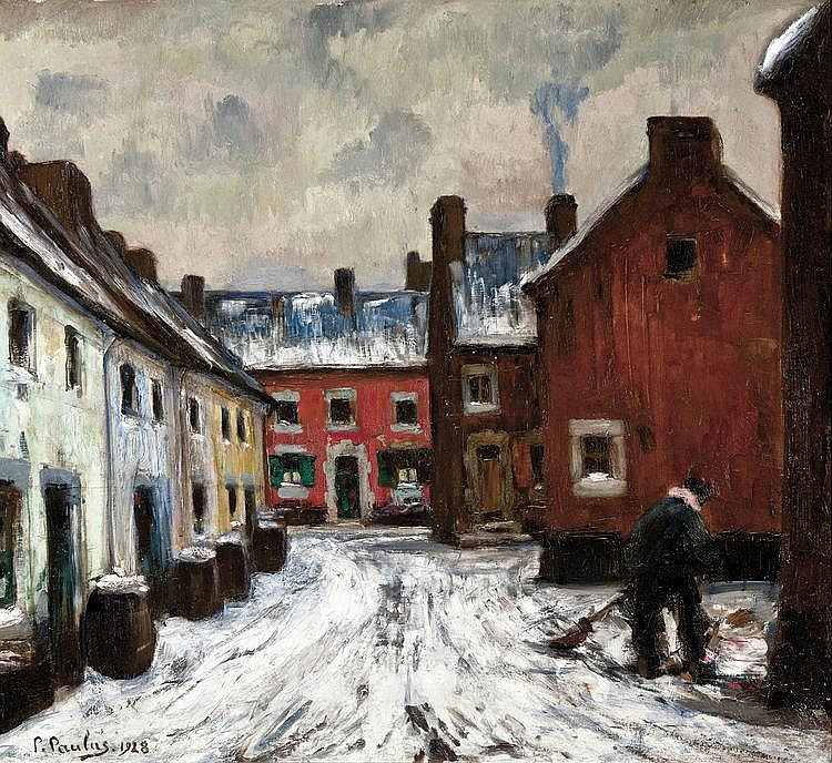 Paulus de Châtelet  Pierre (1881-1959) The Red House - The snow sweeper (1928)