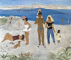 Frey Alice (1895-1981) Beach scenery, Antibes (1959)