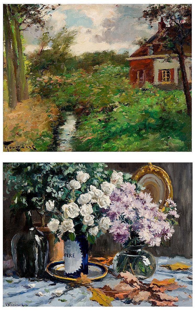 Toussaint  Fernand (1873-1956) A farm near a creek, -  Wagemaekers  Victor (1876-1953) Still life