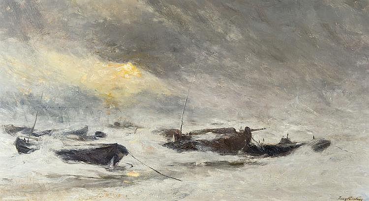 Courtens  Franz (1854-1943) Bourrasque de neige (ca. 1912)