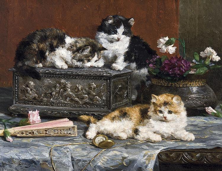 Van Den Eycken  Charles (Jr.) (1859-1923) Les premiers ébats - Playfull kittens