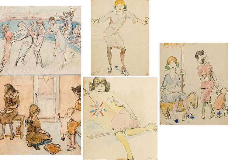 Joostens  Paul (1889-1960) In de wachtzaal - Dansende meisjes - Meisje met rolschaatsen - De paardenmolen - Het molentje