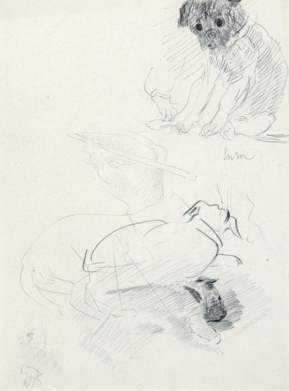 Ensor James - Study sheet with dogs and a drawing hand