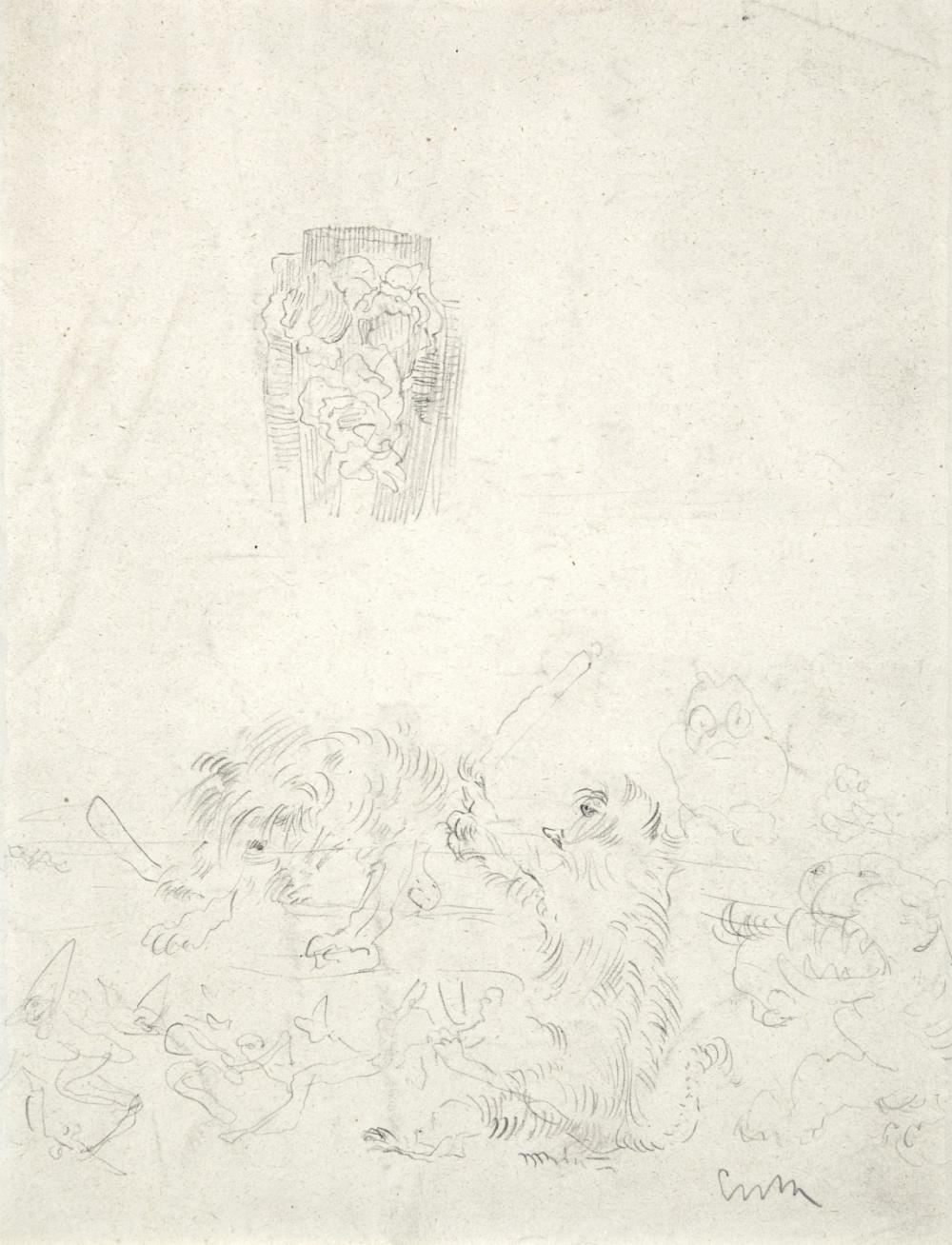 Ensor James - Study sheet with vase and fighting animals