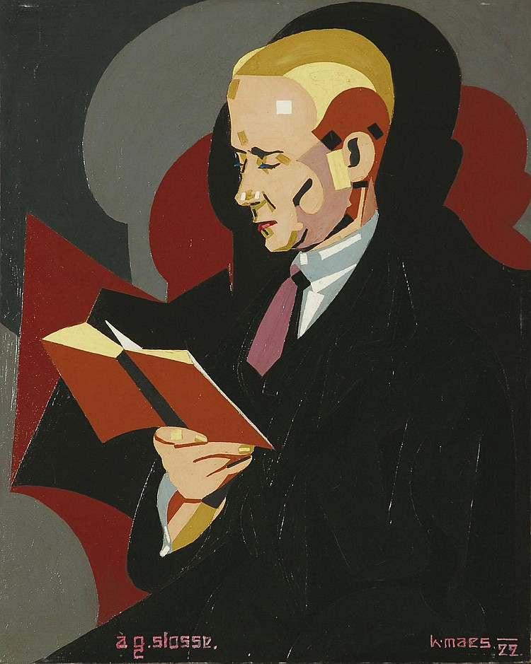 KAREL MAES 1900 - 1974 Belgian School MAN READING
