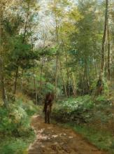 De Cock César (1823 - 1904) Belgium - Forest path with wood gatherer (1872)