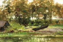 De Cock César (1823 - 1904) Belgium - The banks of the river Epte, Normandie (ca. 1875)