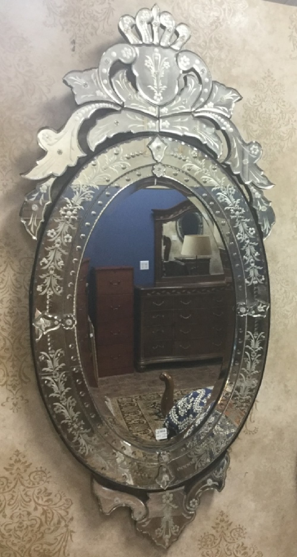 Pair Of Vintage Oval Carved Venetian Glass Mirrors