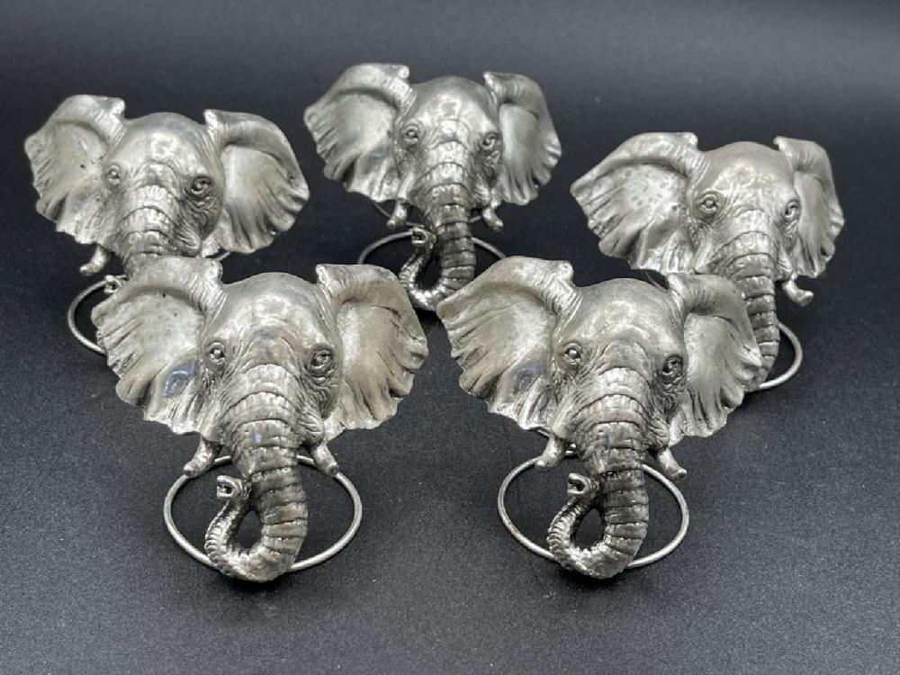 SET OF 5 VTG SIGNED ELEPHANT NAPKIN RINGS