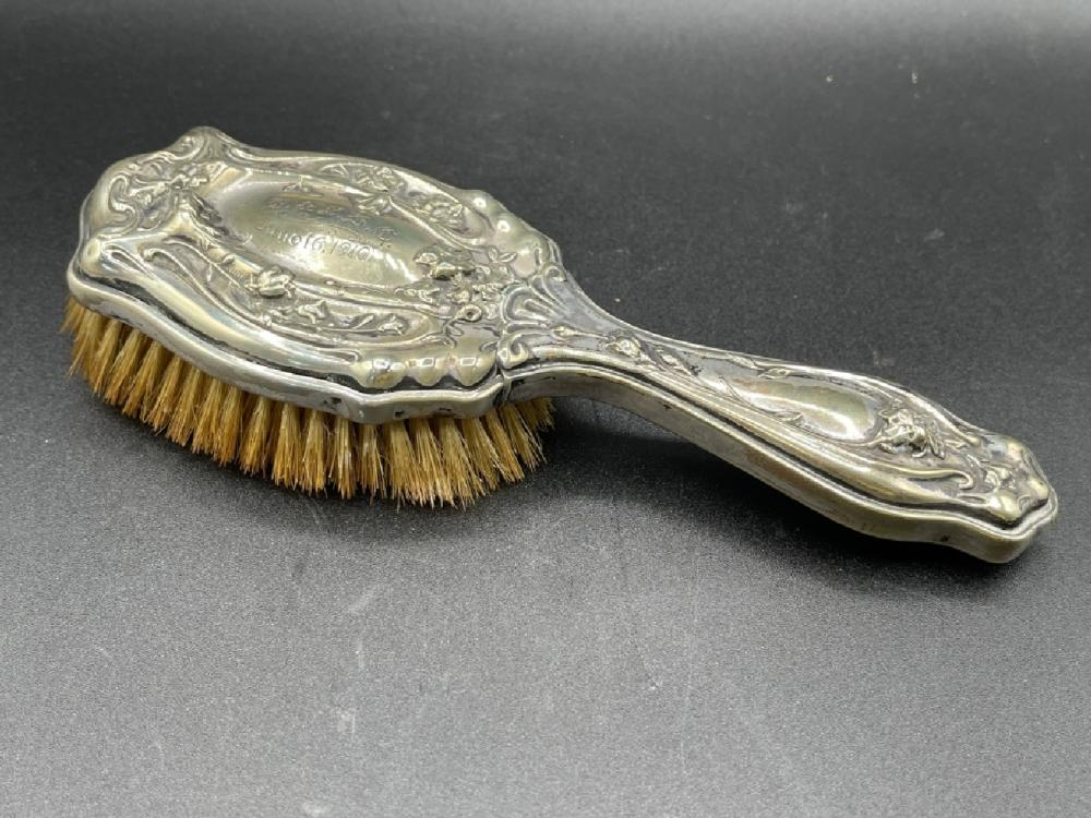 STERLING SILVER ANTIQUE INSCRIBED BRUSH