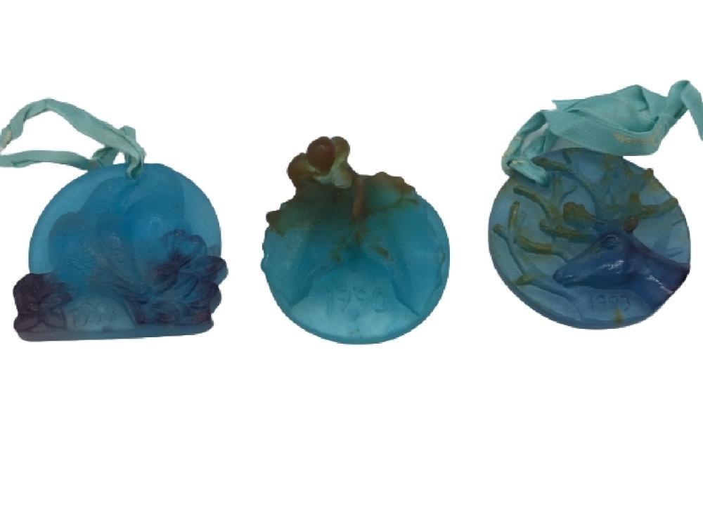 SET OF 3 DAUM FRANCE ART GLASS CRYSTAL ORNAMENTS