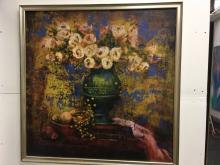 Blue Floral Oil on Canvas signed Claudette