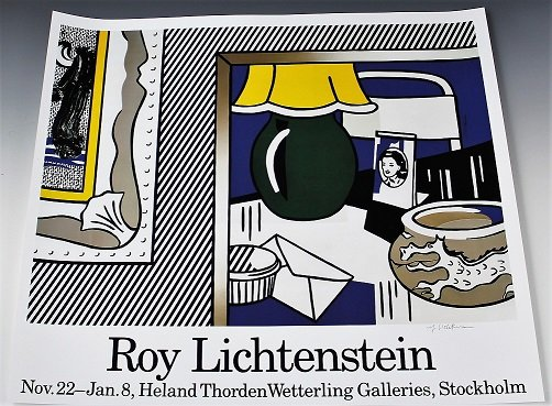 Roy lichtenstein signed stockholm exhibition poster for Poster roy lichtenstein