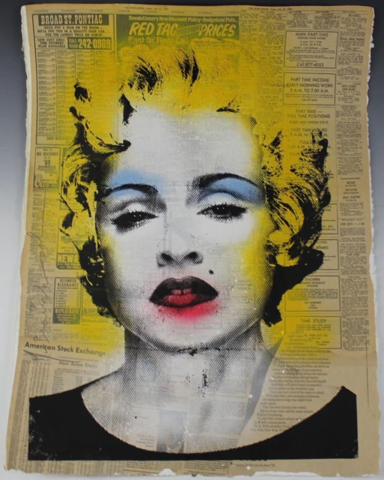 Mr brainwash madonna acrylic painting for Mural painted by street artist mr brainwash