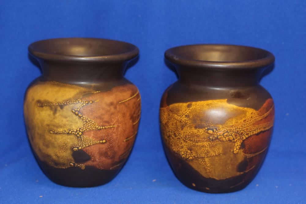 Pair of Haeger Earth Wrap Pottery Vases