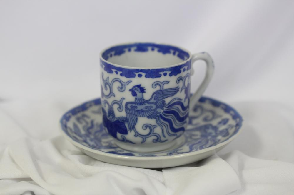 A Japanese Blue and White Cup and Saucer