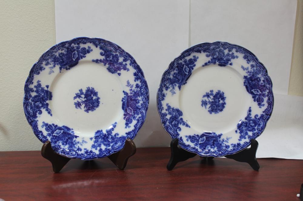 A Pair of Burslem Flow Blue Plates