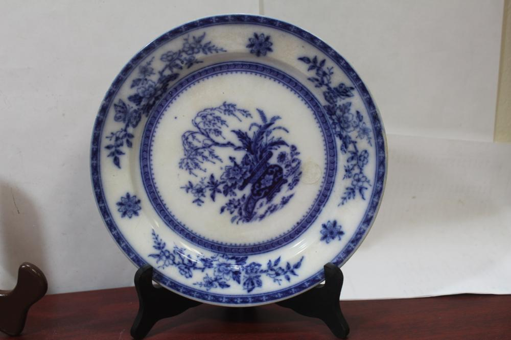 An Antique Ceylon Flow Blue Plate