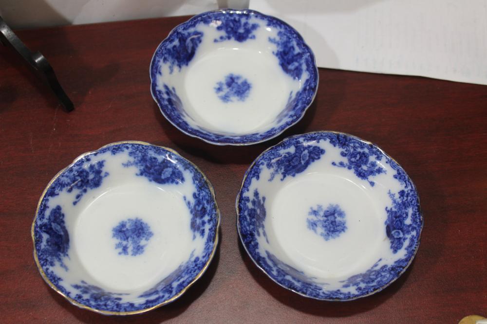 Lot of 3 Antique Burslem Flow Blue Small Bowls