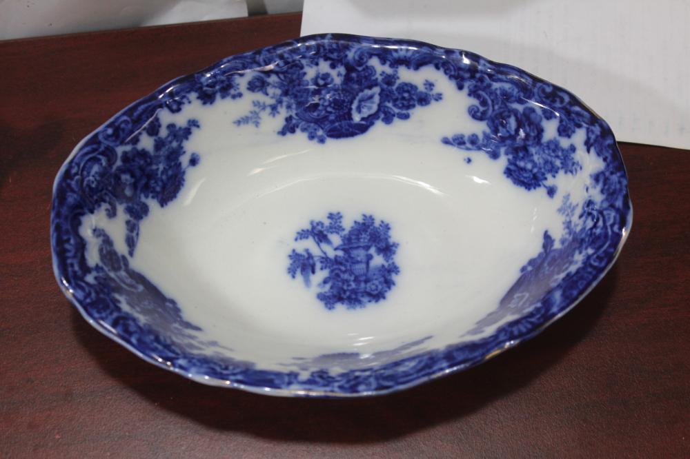 An Antique Burslem Flow Blue Bowl
