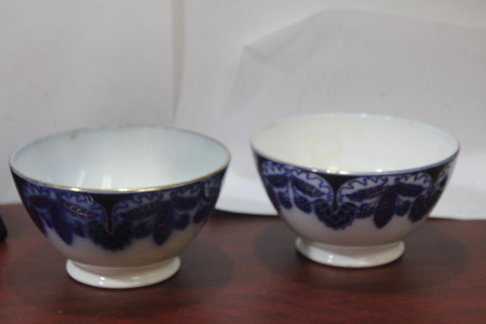 A Set of 2 German Flow Blue Bowl