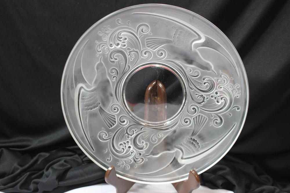 A Val St. Lambert Carved Glass Charger