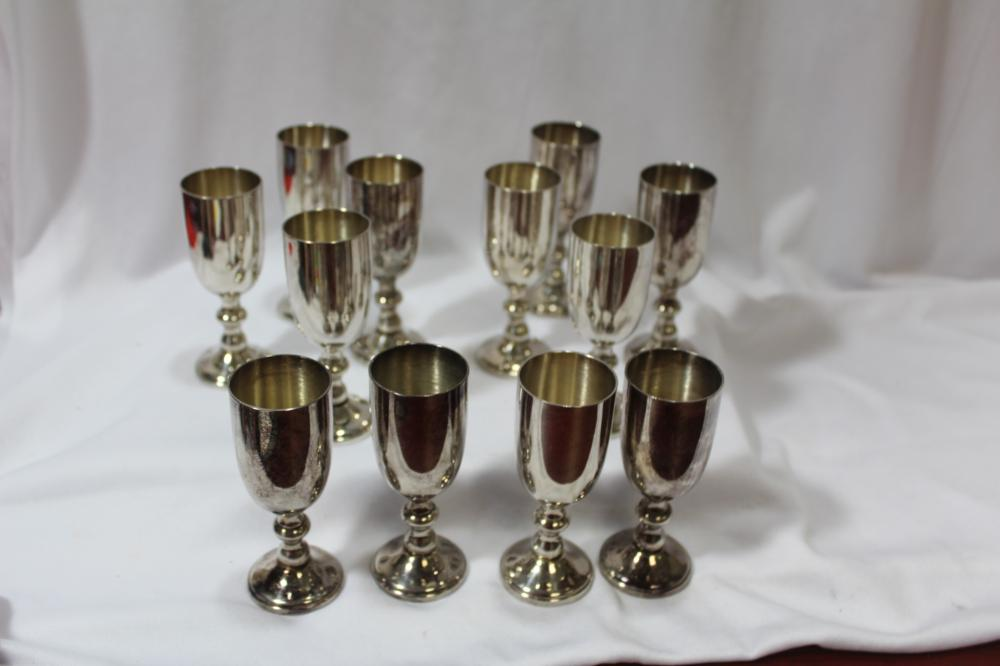 Set of 12 Silverplated Cups