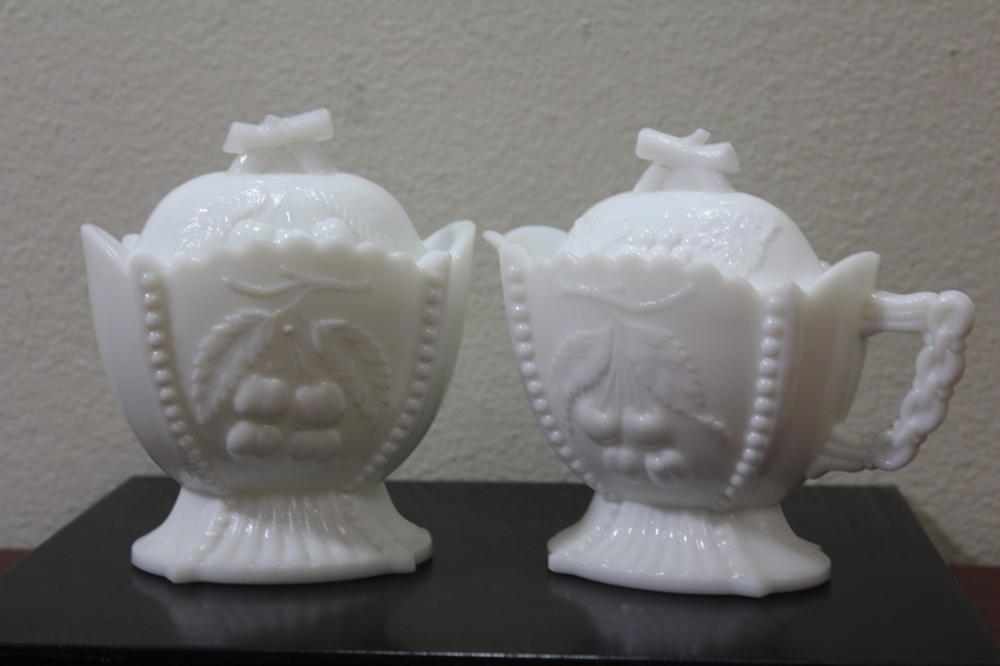 Set of Two Milk Glass Creamer and Sugar
