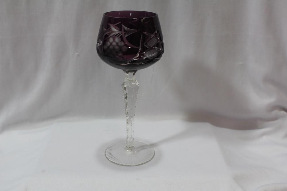 An Amethyst Cut Glass Goblet