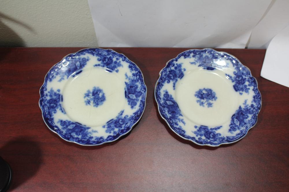 A Pair of Flow Blue Plates