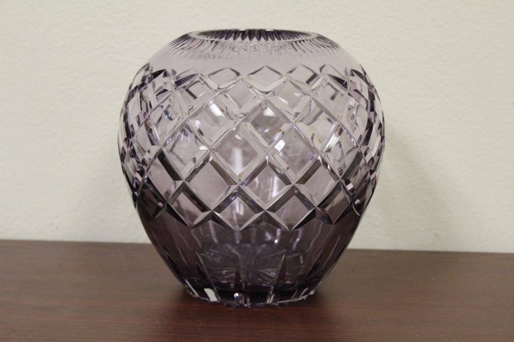 A Cut Glass on Crystal Amethyst Colour Vase