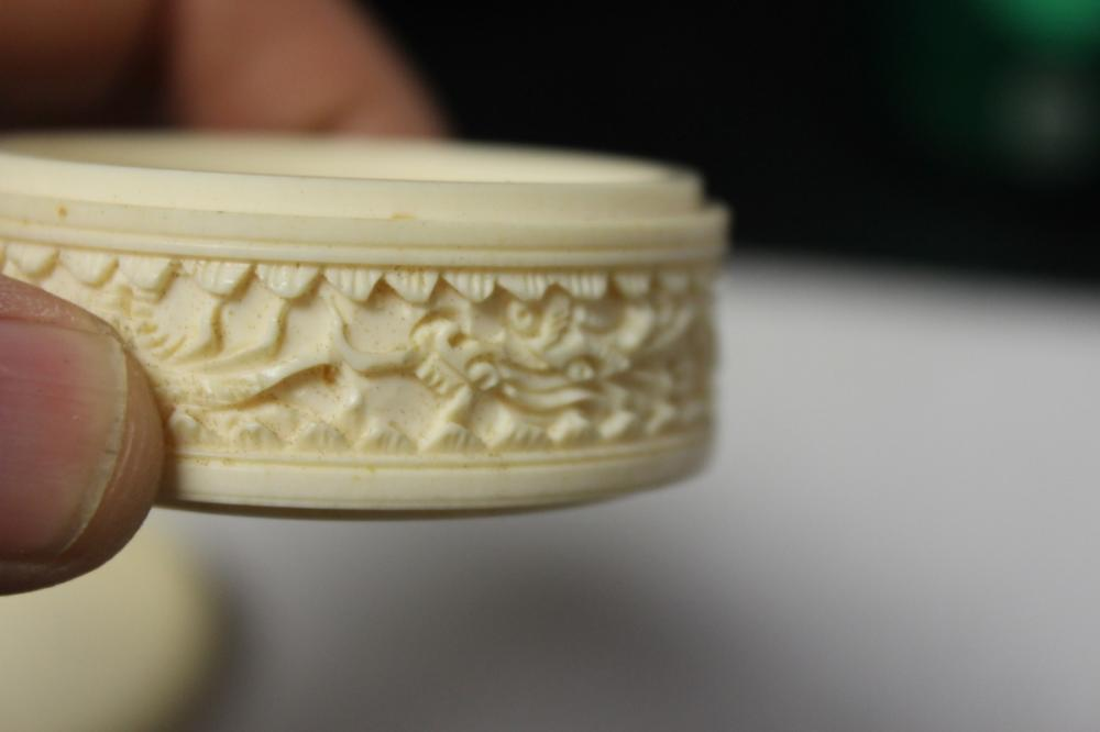 A Chinese Well Carved Bone Trinket Or Pill Box