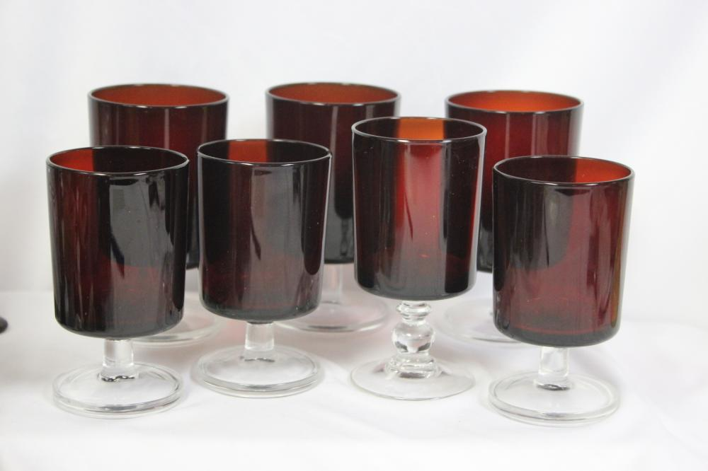 Lot of 7 Ruby Red Glass