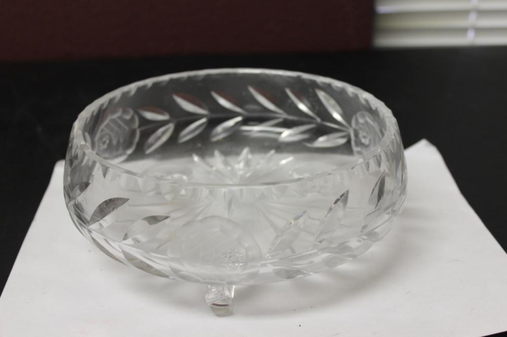 A Cut Glass 3 Legged Bowl