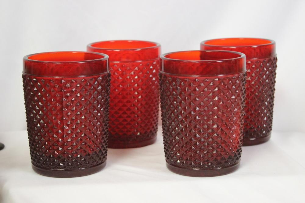 Lot of 4 Ruby Red Glass Tumblers