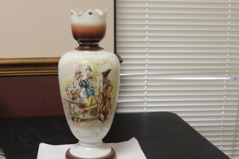 A Hand Painted Bristol Glass Vase