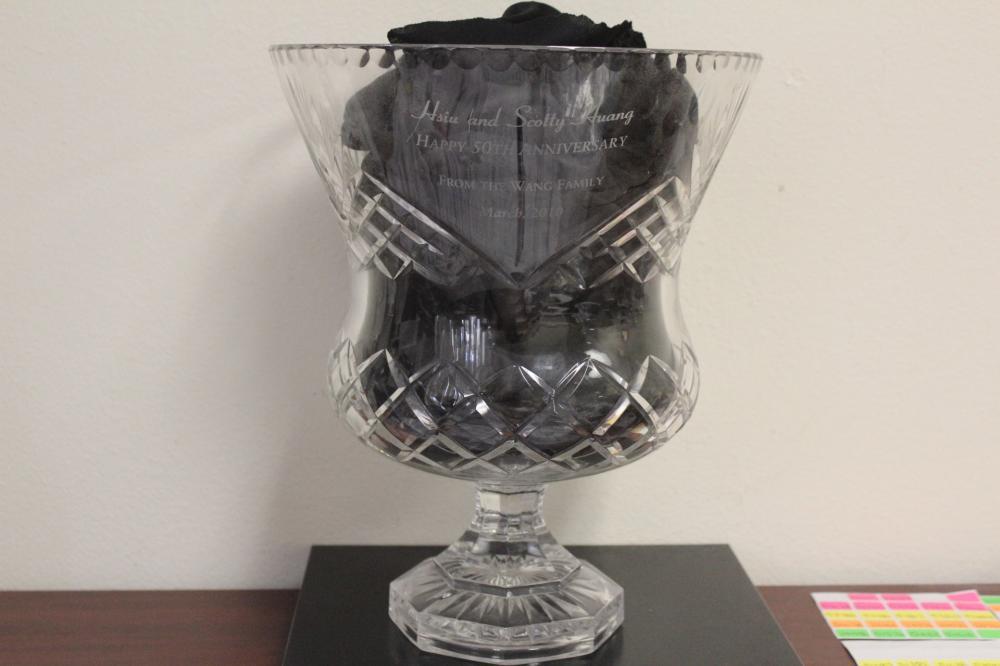 A Large Cut Glass Trophy