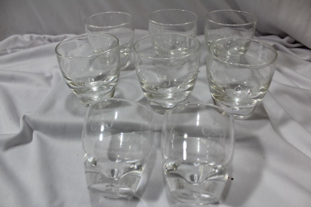 Set of 8 Signed Stuben Glass Cup