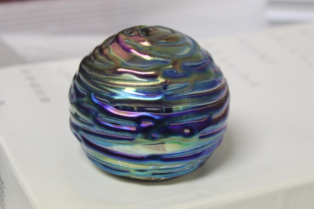 A Glass Eye Iridescent Paperweight